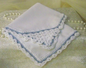 Lace Corner Handkerchief, Hankie, Hanky, Hand Crochet, Something blue, Bridal, Ladies, Personalized, Monogrammed, Embroidered, Ready to ship