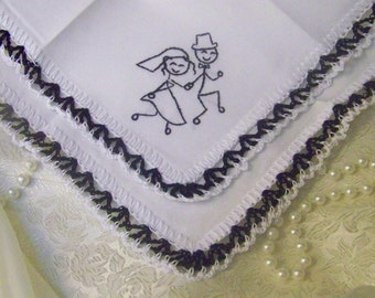 Stick Figure Wedding, Bridal Handkerchief, Hanky, Crochet, Embroidered, Humorous, Bridal Gift, Personalized, Monogrammed, Ready to ship