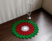 Christmas Holly Crochet Lace Doily, Table Decoration, New Holiday Decor, Red, Green, White