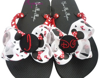 Disney wedding I DO flip flops for the bride- white or black- or choose any colors - ivory
