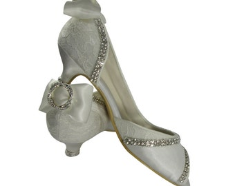 I DO & Satin bling wedding high heels for the bridal - Infinity Circle- Choose heel height and rhinestone embellishment
