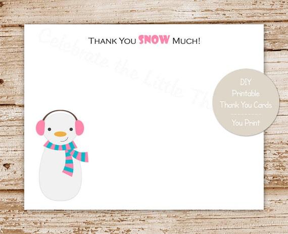 Printable Snowman Thank You Cards For Girls Winter Wonderland
