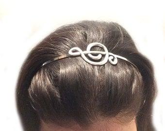 Music G Clef Headband- Metal Headband- Silver Music Headband