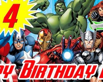 Personalized Superhero Birthday Banner featuring Avengers / Superman  / Batman