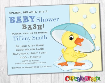 Boy Baby Shower Invitation, Duck Baby Shower