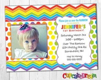 Rainbow Birthday Invitation, First Birthday