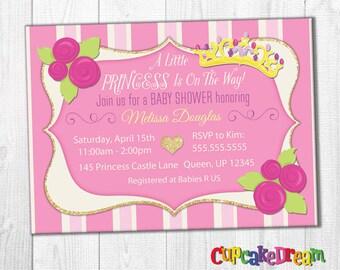 Princess Baby Shower Invitation, Princess Invitation, Girl Baby Shower