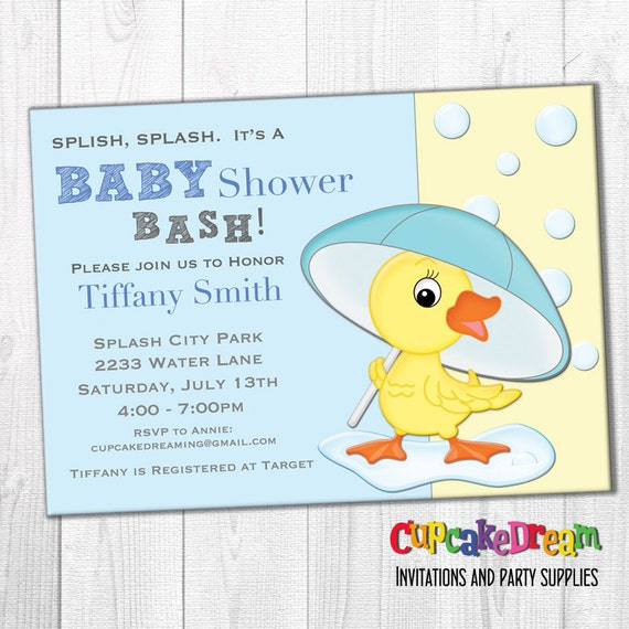 Boy Baby Shower Invitation, Duck Baby Shower