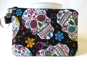 Handmade small pouch with zipper - split key ring - Happy skulls with flowers - coin purse - makeup bag - credit cards - ready to ship
