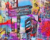 New, Central District, Rice Park Sign 3, juicy colors, Saint Paul Minnesota, digital, decor, office art, corporate art, Minnesota photo art