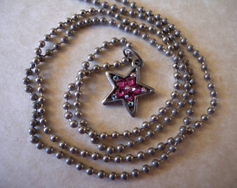 SALE - Pewter Star with Swarovski Crystals on Ball Chain - Child, Kid, Tween, Teen, Youth or Young at Heart Necklace