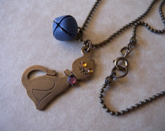 Cute Kitty Cat Necklace with Bell and Rhinestones