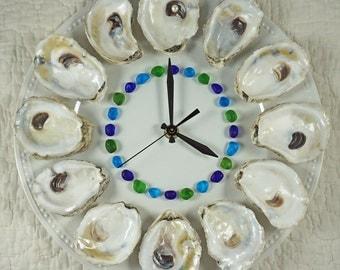 Dozen Oysters on the Half Shell Wall Clock - Caribbean Blue Beach Glass