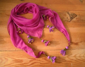 Triangular cotton scarf, violet purple flower