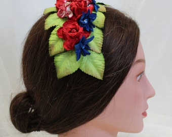 Patriotic Floral Headdress, Civil War Appropriate--Affordable Elegance