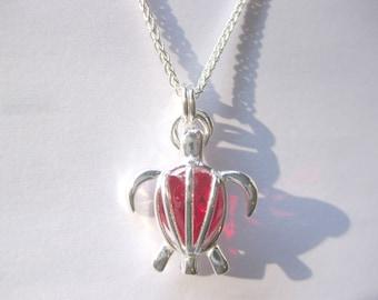 Sterling Sea turtle Birthstone SS turtle  Pendant Custom Jewelry