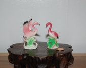Miniature, Pair of classic 1950's, Porcelain Pink Flamingos ~ one with Spread Wings & the other head bent Figurines ~ 2nd Set~ Japan