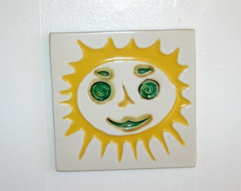 Classic Yellow & Green Sun Tile by David Gil for Bennington Potters of Vermont ~ Fully Marked ~ Excellent Condition
