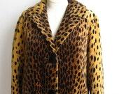 Vintage 60s Mod Leopard Print Velveteen Coat Jacket size S/M