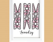Clothespin Laundry Room Wall Art Printable - Laundry Room Decor - Instant Download - Gray, Mauve, Hot Pink, Light Pink - 8x10 and 11x14