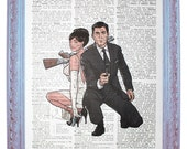 vintage dictionary art ink print 7.75x10.75 inches - archer and lana with guns archer tv show