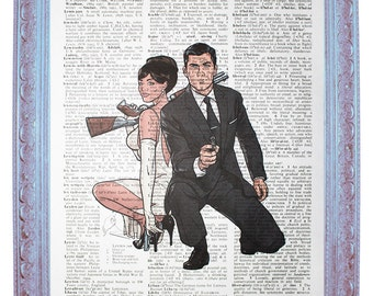dictionary art / dictionary print / dictionary page art / archer fx / archer tv show / sterling archer / archer with lana / 7.75x10.75inch