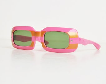 Vintage 60s MOD Square Sunglasses / 1960s Pink and Orange Striped Sunglasses