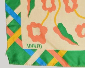 Vintage 70s FLORAL Check Print ADOLFO Silk Square Scarf