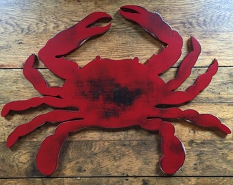 Large Wooden Crab Sign - Wall Art Indoor Ocean Beach Decoration
