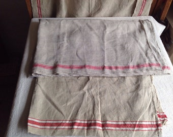 Vintage French Fabrics Remnants/ Ecru linen / Mangle cloths Red Ticking, 2 pc fabric bundle - furnishing projects