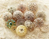 Vintage Sparkle Rhinestone Buttons Destash Mix Pastel Plastic Ivory Champagne Clear Button Assortment 14
