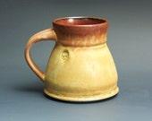 Handmade pottery coffee mug tea cup 14 oz, amber rust tea cup 3450