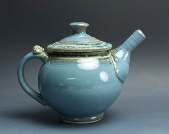 Handmade pottery teapot  46 oz. stoneware tea pot soft blue 3548
