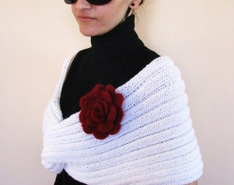 SALE 65% LAST CHANCE Elegant Wrap/Shrug in white color with red flower brooch