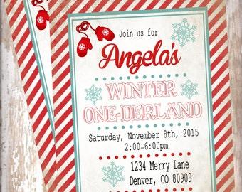 Christmas vintage winter One-derland  Invitation Printed With Envelopes-1st birthday, girl birthday, boy birthday,  birthday decorations