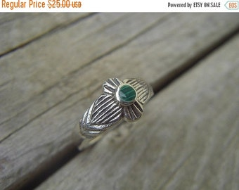 ON SALE Sterling silver ring with malachite