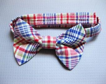 SALE 50% OFF Boys plaid bow tie toddler adjustable bow tie newborn photo prop cake smash bow tie-  Primary Plaid