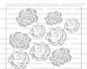 Mixed Media Stencils Roses ~ Paperbabe Stamps - Laser Cut Mylar Stencils - For Mixed Media, Paper crafting and scrapbooking.