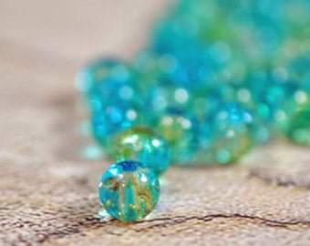 Aqua/green glass beads, 6mm - #133