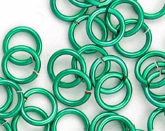 Bright Blue/Green Enameled copper jump rings, 5mm - #1116