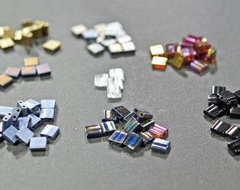 Tila Beads, glass, 5x5 square, multiple colors #1236
