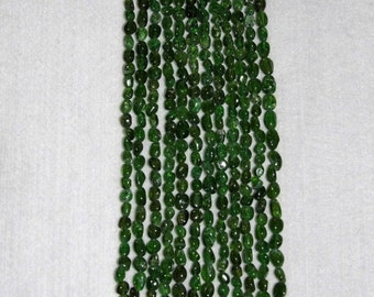 Chrome Diopside, Smooth Oval Nugget, Chrome Diopside Bead, Green Oval Nugget, Gemstone Bead, Natural Stone, Semi Precious, Strand, 4-8mm