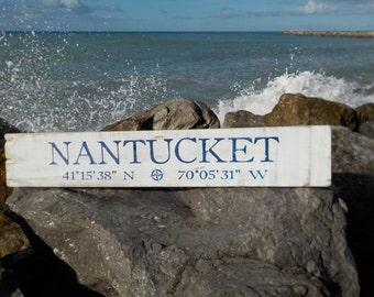 "JUMBO 48""x10"", Latitude longitude sign, rustic beach signs, custom address signs, beach decor, custom name signs. welcome sign,"