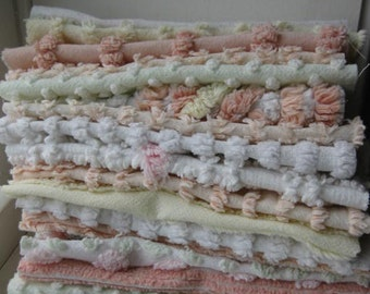 Stack Of 25 Vintage 6 Inch Chenille Squares
