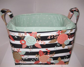 Large Diaper Caddy / Organizer Bin / Pink Mint Green Black Gold Flowers Stripes - Personalization Available