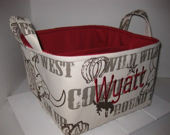 Large Diaper Caddy 10 x 10 x 7 / Organizer Bin / Cowboy Boots Wild West Brown Red- Personalization Available