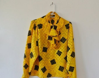 25% OFF SALE Vintage Yellow and Black Geometric Print Blouse - Long Sleeve Blouse with Ruffle - Size Medium