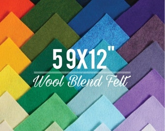 "Wool Felt // 5 9x12"" Sheets // Choose Your Own Colors // Sample Pack, Colorful Fibers, Flower Supplies, Felt Banners, Wool Blend Felt"