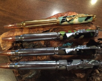 Four Rifle Cartridge Pens with Desert Camo Body                      (#1085,1086,1087,1088 from bottom up))