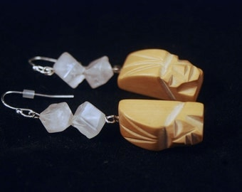 Rose Quartz and Hand Carved Wood Earring with Silver